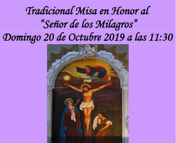 """Tradicional Misa en Honor al  """"Señor de los Milagros"""""""